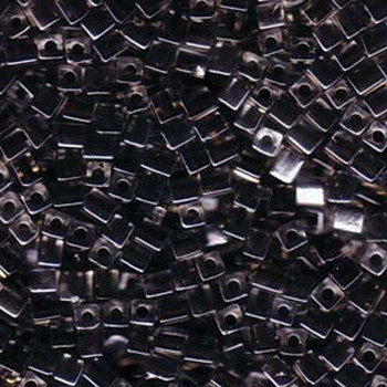 20 Grams Clear Black Lined Miyuki 4mm Square Cube Glass Seed Beads Sb4-1106-Tb