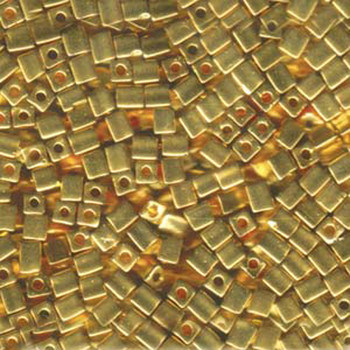 20 Grams 24Kt Gold Plated Miyuki 4mm Square Cube Glass Seed Beads Sb4-191-Tb