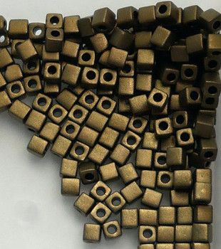 20 Grams Bronze Metallic Matte Miyuki 4mm Square Cube Glass Seed Beads Sb4-2006-Tb