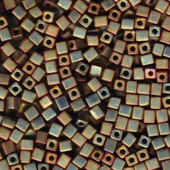 20 Grams Kkaki Iris Matte Metallic Miyuki 4mm Square Cube Glass Seed Beads Sb4-2035-Tb