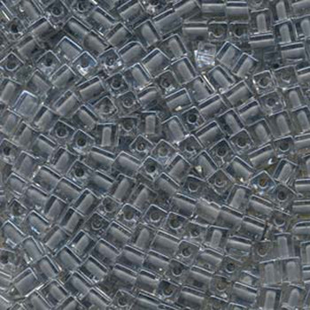 20 Grams Clear Grey Lined Miyuki 4mm Square Cube Glass Seed Beads Sb4-240-Tb
