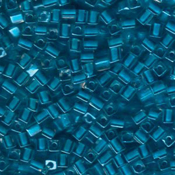 20 Grams Color Lined Teal Miyuki 4mm Square Cube Glass Seed Beads Sb4-247-Tb