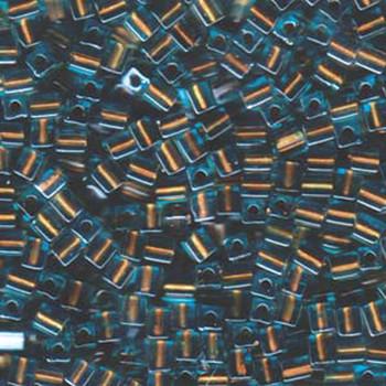 20 Grams Blue Brown Lined Miyuki 4mm Square Cube Glass Seed Beads Sb4-2642-Tb