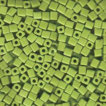 20 Grams Opaque Chartreuse Miyuki 4mm Square Cube Glass Seed Beads Sb4-416-Tb