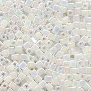 20 Grams Translucent White Rainbow Miyuki 4mm Square Cube Glass Seed Beads Sb4-550R-Tb