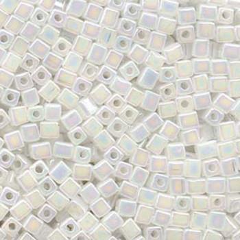 20 Grams Translucent White Rainbow Miyuki 4mm Square Cube Glass Seed Beads Sb4-550R-Tb