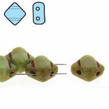 Lt Turquoise Green Picasso 6mm Diamond Glass Czech Two Hole 40Pc Tile Beads Sq206-63110-86800