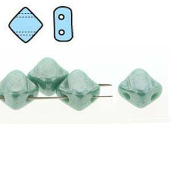 Silky Beads Glass 2-Hole Diamond Tile Beads 6mm Turquoise Gr White Luster 40 Sq206-63130-14400