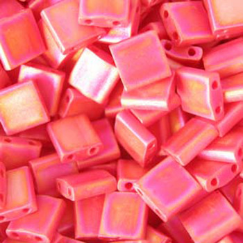 Red Ab Matte Miyuki Tila Beads 7.2Gm 2 Hole Seed Bead 5x5mm Tl408Fr-Tb