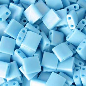 Turquoise Blue Matte Miyuki Tila Beads 7.2gm 2 Hole Seed Bead 5x5mm