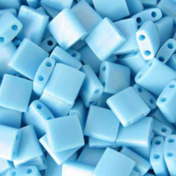 Turquoise Blue Matte Miyuki Tila Beads 7.2Gm 2 Hole Seed Bead 5x5mm Tl413Fr-Tb