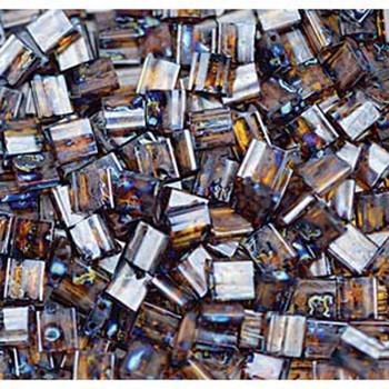 Picasso Dark Amber Transparent Tila Beads 7.2 Gram Miuki Square 5mm 2 Hole Tl4502-Tb