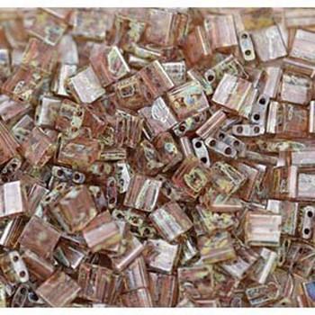 Picasso Light Smoky Topaz Tila Beads 7.2 Gram Miuki Square 5mm 2 Hole Tl4505-Tb