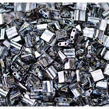 Picasso Smokey Black Matte Tila Beads 7.2 Gram Miuki Square 5mm 2 Hole Tl4511-Tb