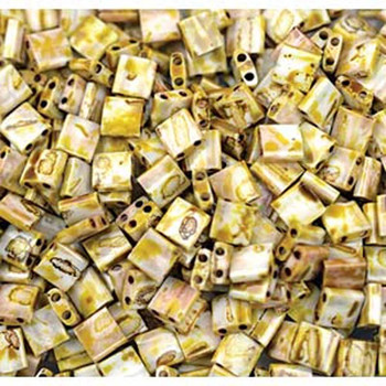 Picasso Canary Yellow Matte Tila Beads 7.2 Gram Miuki Square 5mm 2 Hole Tl4512-Tb