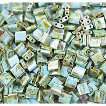 Picasso Seafoam Green Matte Tila Beads 7.2 Gram Miuki Square 5mm 2 Hole Tl4514-Tb