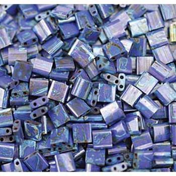 Picasso Cobalt Blue Tila Beads 7.2 Gram Miuki Square 5mm 2 Hole Tl4518-Tb