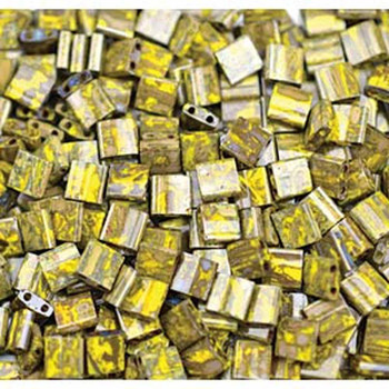 Picasso Opaque Yellow Tila Beads 7.2 Gram Miuki Square 5mm 2 Hole Tl4519-Tb