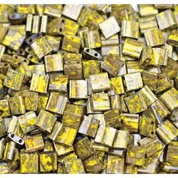 Picasso Opaque Yellow Tila Beads 7.2 Gram Miuki Square 5mm 2 Hole Tl4519-Tb