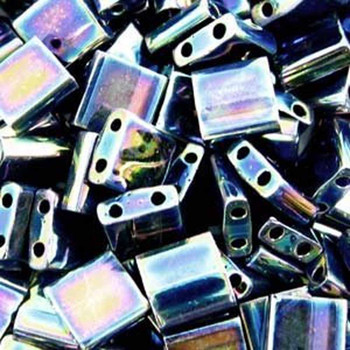 Medium Blue Iris Tila Beads 7.2 Gram Miuki Square 5mm 2 Hole Tl455-Tb