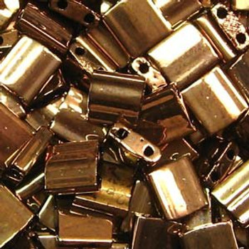 Dark Bronze Tila Beads 7.2 Gram Miuki Square 5mm 2 Hole Tl457-Tb