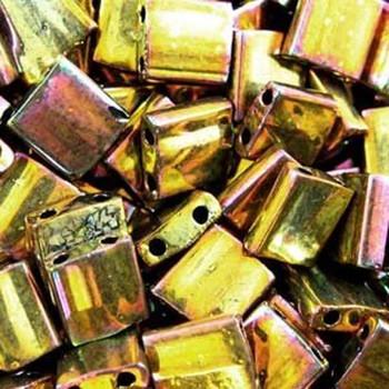Metallic Gold Iris Tila Beads 7.2 Gram Miuki Square 5mm 2 Hole Tl462-Tb