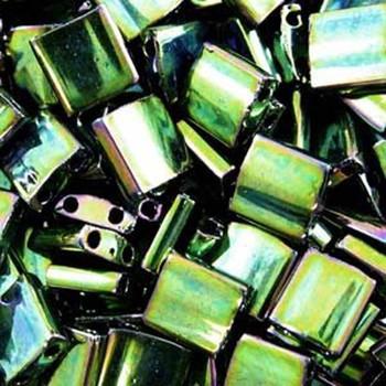 Metallic Green Iris Tila Beads 7.2 Gram Miuki Square 5mm 2 Hole Tl468-Tb