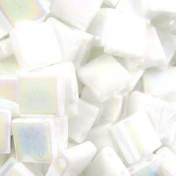 Pearl White Ab Opaque Tila Beads 7.2 Gram Miuki Square 5mm 2 Hole Tl471-Tb