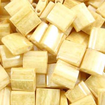 Lt Caramel Tila Beads 7.2 Gram Miuki Square 5mm 2 Hole Tl593-Tb