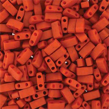 Burnt Sienna Half Tila Beads 7.2 Gram Miuki Square 5mm 2 Hole Tlh2315-Tb