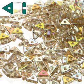 Crystal Lemon Rainbow Czech Glass Seed Tri Beads 4.6mmx1.3mm Thick Approx 9Gr Tube Tri2400030-98534-Tb