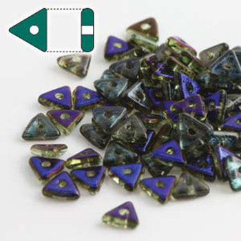 Peridot Azuro Czech Glass Seed Tri Beads 4.6mmx1.3mm Thick Approx 9Gr Tube Tri2450510-22201-Tb