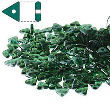 Emerald Celsian Czech Glass Seed Tri Beads 4.6mmx1.3mm Thick Approx 9Gr Tube Tri2450730-22501-Tb