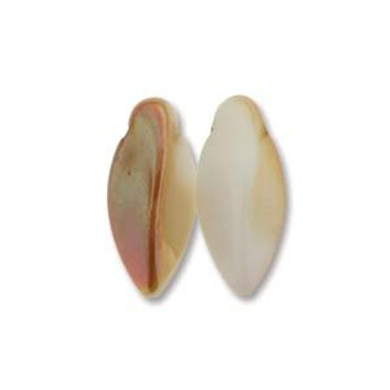 White Apricot Czech Glass Twist Beads 6x12mm Apprx 25 bead loose strand