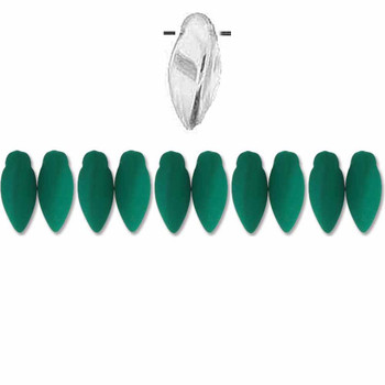 Neon Petrol Czech Glass Twist Beads 6x12mm Apprx 25 bead loose strand