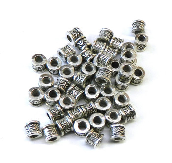 48 Antique Silver Plated Zinc Tube Spacer Beads 6x6mm (3mm Hole) Rb02208