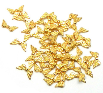 48 Angel Wings Gold Plated Beads Cast Zinc Metal Beads 20x9mm Rb03589