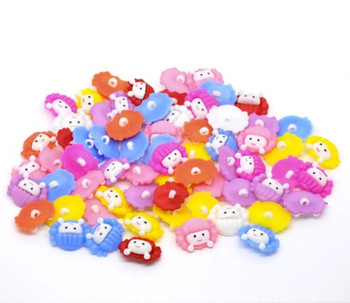 200 Mixed Colors Acrylic Girl Doll Face Sewing Shank Buttons Scrapbooking 16x15mm, Sold Per Pack Of 200 Rb10487