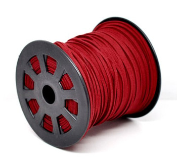 Red Micro Fiber Faux Suede 2.5mm 90 Yard Spool Flat Lace Beading Craft Cord Rb13078