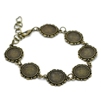 """2 Antiqed Brass Round Fits 14mm Cabochons Setting Disk Bracelets 8"""" Rb20216"""