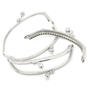 3 Silver Tone Purse Frame Metal Bag Kiss Clasp Lock Curved Design 5x2 Inch 3 Pack Rb31694