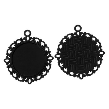 10 Black Plated Zinc Round Cabochon Setting Pendant 32mm Fit 20mm Cab Rb37373