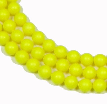 "100 Swarovski Crystal Pearls 4mm Round Beads 5810. 16"" Loose Strand Yellow Neon 581004Cny"