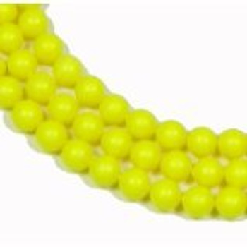"100 Swarovski Crystal Pearls 4mm Round Beads 5810. 16"" Loose Strand Yellow Neon"
