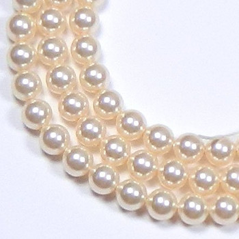 "100 Swarovski Crystal Pearls 4mm Round Beads 5810. 16"" Loose Strand Cream Rose 581004Crmro"
