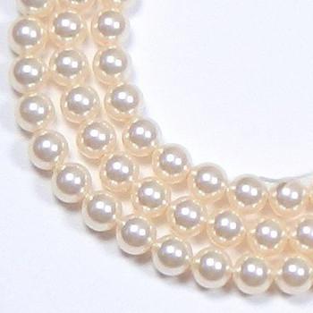 "100 Swarovski Crystal Pearls 4mm Round Beads 5810. 16"" Loose Strand Light Cream Rose 581004Crmrolt"