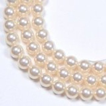 "100 Swarovski Crystal Pearls 4mm Round Beads 5810. 16"" Loose Strand Light Cream Rose"