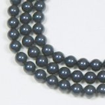 "100 Swarovski Crystal Pearls 6mm Round Beads 5810. 24"" Loose Strand Night Blue"