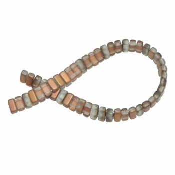 Matte Apollo Gold Brick 3x6mm Square Glass Czech 50 Two Hole Beads Brc36-Mc00030
