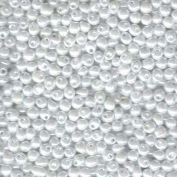 White Ceylon Miyuki 3.4mm Fringe Seed Bead Glass Tear Drops 20 Gram Dp-9528-Tb